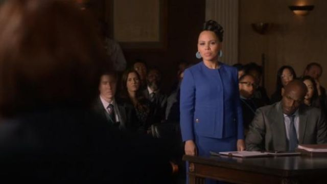 Escada Blue Bera Wool Snap-Front Jacket outfit worn by Tegan Price (Amirah Vann) in How to Get Away with Murder Season 6 Episode 8 - TV Show Outfits and Products