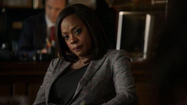 Escada Gray Plaid Blazer outfit worn by Annalise Keating (Viola Davis) in How to Get Away with Murder Season 06 Episode 07 - TV Show Outfits and Products