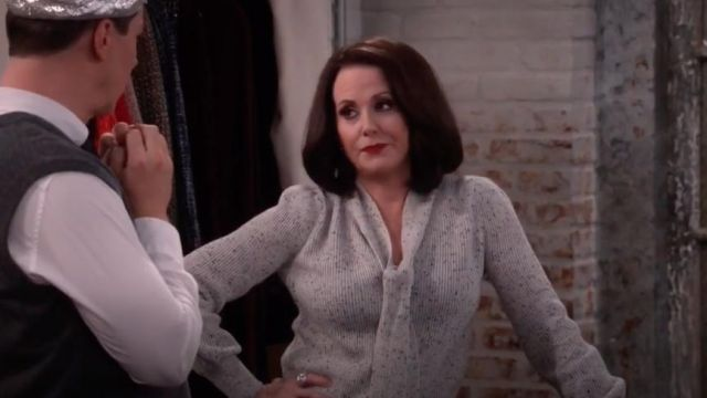Fashion Trends 2021: Essentials Tie Neck Cashmere Sweater outfit seen on Karen Walker (Megan Mullally) in Will & Grace (S10E04)