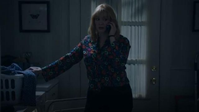 Etro Fluorescent Floral Tie Neck Blouse outfit worn by Beth Boland (Christina Hendricks) in Good Girls (S02E12) - TV Show Outfits and Products