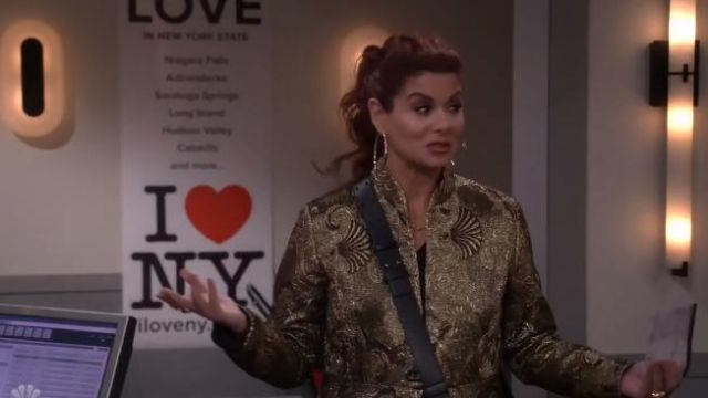 Etro Jacquard Flare Topper Coat outfit worn by Karen Walker (Megan Mullally) in Will & Grace (S02E18) - TV Show Outfits and Products