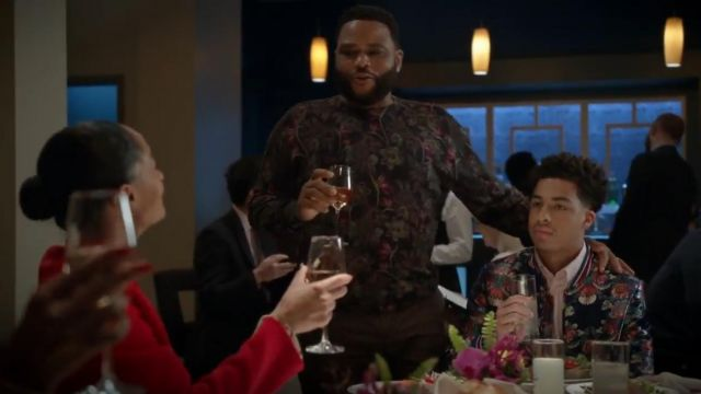 Etro Men's Floral Wool Blend Sweater outfit worn by Andre 'Dre' Johnson (Anthony Anderson) in black-ish (S05E23) - TV Show Outfits and Products
