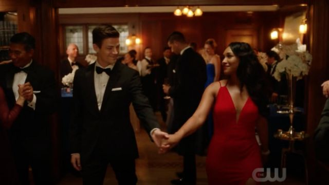 Evening dress red Faviana range by Iris West (Candice Patton) seen in The Flash Season 5 Episode 5