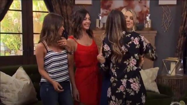 Express Navy And Ivory Striped Barcelona Cami outfit worn by Kaitlyn Bristowe in The Bachelorette (S12E01) - TV Show Outfits and Products