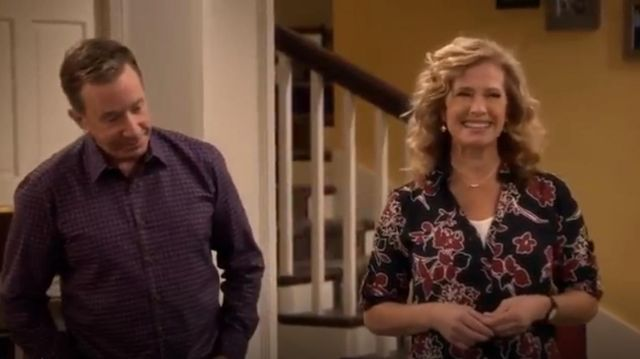 Express Slim Fit Covered Button Floral Portofino Shirt outfit seen on Vanessa Baxter (Nancy Travis) in Last Man Standing (S07E06)