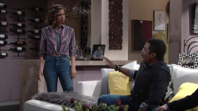 Express Stripe Two Pocket Silky Soft Twill Shirt outfit worn by Brytni Sarpy as seen in The Young and the Restless May 22, 2019 - TV Show Outfits and Products