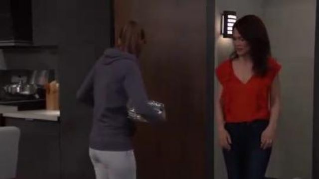 Express Tie Neck Ruffle Front Cap Sleeve Blouse outfit worn by Rebecca Herbst as seen in General Hospital June 20