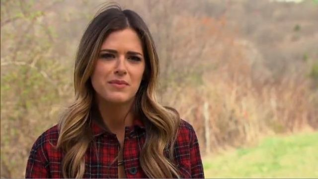 Faherty Boyfriend Shirt Jacket in Red Tartan Plaid outfit worn by JoJo Fletcher in The Bachelorette (S12E04) - TV Show Outfits and Products