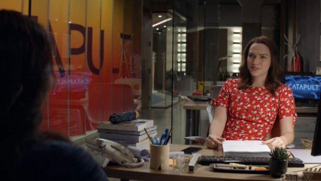 Faithfull The Brand Red Floral Mini Dress outfit worn by Cara Bloom (Violett Beane) in God Friended Me Season 02 Episode 07 - TV Show Outfits and Products