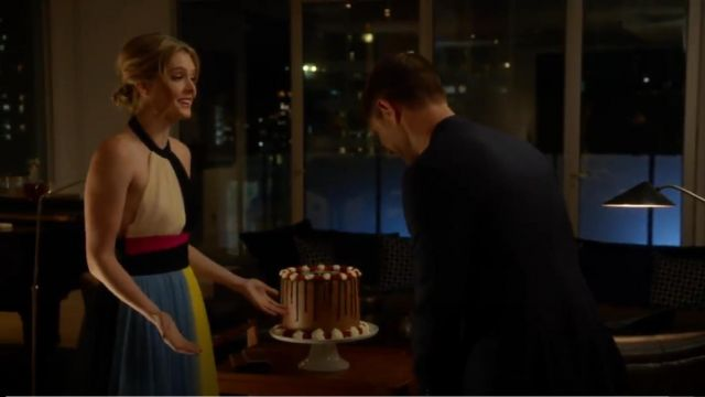 Fausto Puglisi Color Block Short Halter Top Tulle Dress outfit worn by Sutton Brady (Meghann Fahy) in The Bold Type (S03E07) - TV Show Outfits and Products