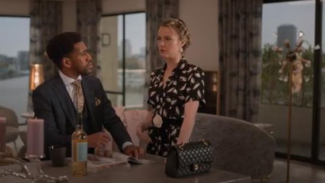 Finery Black Alida Winter Feathers Printed Jumpsuit outfit worn by Ainsley Howard (Rebecca Rittenhouse) in Four Weddings and a Funeral Season 1 Episode 8 - TV Show Outfits and Products