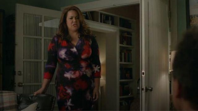 Floral Wrap Dress outfit worn by Katie Otto (Katy Mixon) in American Housewife Season 04 Episode 06