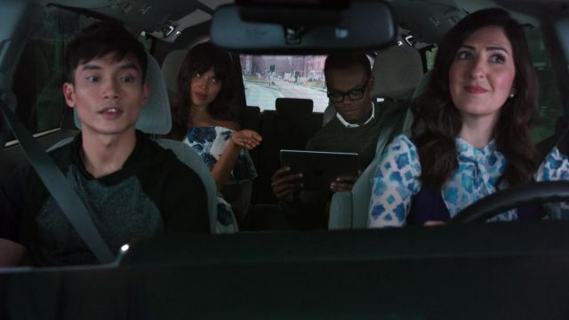 Floral dress naked shoulders After Six scope by Ms. Al-Jamil (Jameela Jamil) seen in The Good Place Season 3 Episode 6 - TV Show Outfits and Products