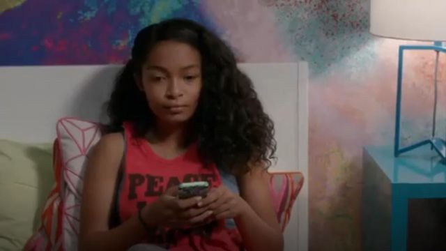 Forever 21 Peace, Love & Rock N Roll Muscle Tee outfit worn by Zoey Johnson (Yara Shahidi) in black-ish (Season 01 Episode 04) - TV Show Outfits and Products