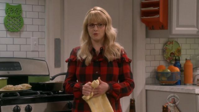 Frame Ruffle Trim Buffalo Check Shirt outfit worn by Bernadette Rostenkowski (Melissa Rauch) in The Big Bang Theory (S12E22) - TV Show Outfits and Products