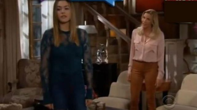 Frame Tobacco Leather Kick Flare Pants outfit worn by Brooke Logan (Katherine Kelly Lang) as seen on The Bold and the Beautiful November 5, 2019 - TV Show Outfits and Products