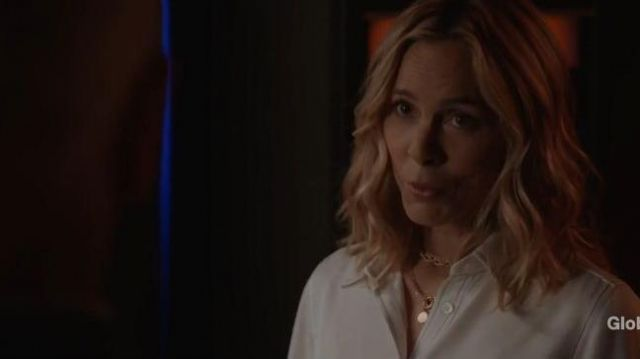 Frame White Blouse With Contrast Black Stitching outfit worn by Jack Sloane (Maria Bello) in NCIS Season 17 Episode 06 - TV Show Outfits and Products