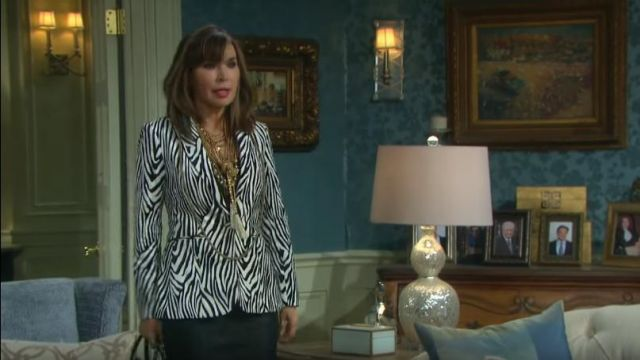 Frame Zebra Blazer outfit worn by Kate Roberts (Lauren Koslow) as seen in Days of Our Lives May 17, 2019 - TV Show Outfits and Products