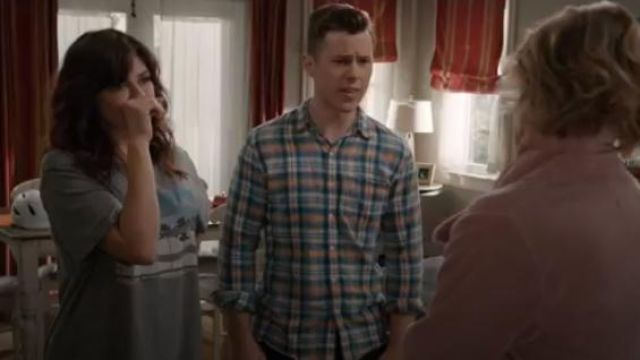 Frame frayed-hem plaid cotton button-up Shirt outfit worn by Luke Dunphy (Nolan Gould) in Modern Family Season 11 Episode 2 - TV Show Outfits and Products