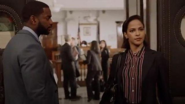 Frame navy blue and red striped button front blouse outfit worn by Edie Palmer (Megalyn Echikunwoke) in Almost Family Season 01 Episode 01 - TV Show Outfits and Products