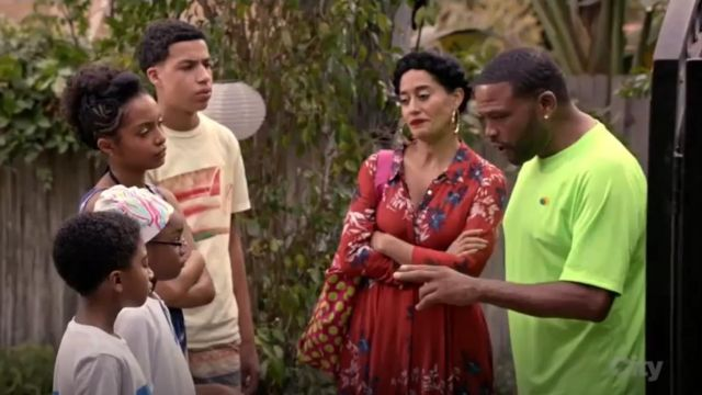 Free People After The Storm Print Maxi Dress outfit worn by Rainbow Johnson (Tracee Ellis Ross) in black-ish (Season 02 Episode 14) - TV Show Outfits and Products