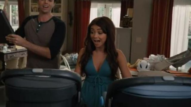 Free people blue beach bound tank outfit worn by Haley Dunphy (Sarah Hyland) in Modern Family Season 11 Episode 2 - TV Show Outfits and Products