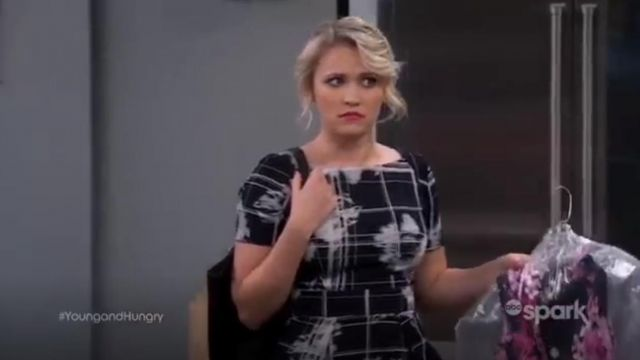 French Connection Wilderness Check Print Fit & Flare Dress outfit worn by Gabi Diamond (Emily Osment) in Young & Hungry (S02E01) - TV Show Outfits and Products