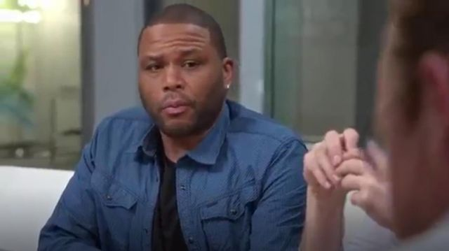 G Star Arc Checked Blue Cotton Shirt outfit worn by Andre 'Dre' Johnson (Anthony Anderson) in black-ish (Season01 Episode18) - TV Show Outfits and Products