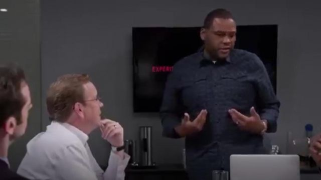 G Star Denim Shirt Arc 3D Tale Check outfit worn by Andre 'Dre' Johnson (Anthony Anderson) in black-ish (S01E21) - TV Show Outfits and Products