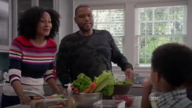 G Star Raw Ainsdock Crew Neck Camo Sweatshirt outfit worn by Andre 'Dre' Johnson (Anthony Anderson) in black-ish (Season 01 Episode 11) - TV Show Outfits and Products
