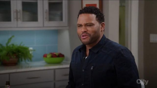 G Star Raw Powel Long Sleeve Button Down Shirt Blue outfit worn by Andre 'Dre' Johnson (Anthony Anderson) in black-ish (Season 03 Episode 17) - TV Show Outfits and Products