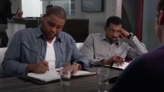 G Star Raw Shirt Denim Cargo Line Long Sleeves outfit worn by Andre 'Dre' Johnson (Anthony Anderson) in black-ish (Season 01 Episode 12) - TV Show Outfits and Products
