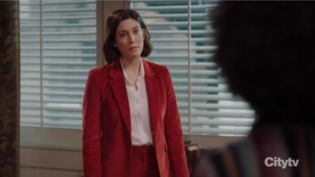 Gabriela Hearst Red Sophie cotton-corduroy blazer outfit worn by Sydney Strait (Caitlin McGee) in Bluff City Law Season 1 Episode 8 - TV Show Outfits and Products