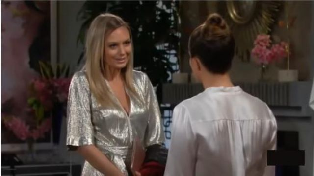 Galvan Light Gold Metallic Jumpsuit outfit worn by Abby Newman (Melissa Ordway) as seen on The Young and the Restless November 6, 2019 - TV Show Outfits and Products