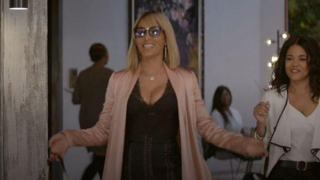 Galvan Peach Silk Trench Coat outfit worn by Giselle (Nicole Ari Parker) in Empire Season 06 Episode 06 - TV Show Outfits and Products