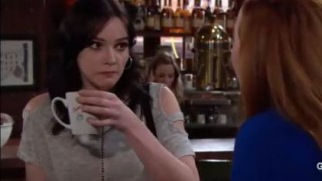 Generation Love Ladder Stitch Cold Shoulder Tee outfit worn by Cait Fairbanks as seen in The Young and the Restless June 18,2019 - TV Show Outfits and Products