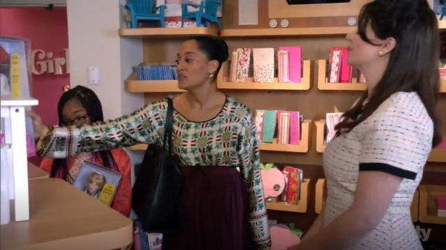 Giada Forte Azulejo Floral Cotton Silk Blouse outfit worn by Rainbow Johnson (Tracee Ellis Ross) in black-ish (Season 03 Episode 17) - TV Show Outfits and Products
