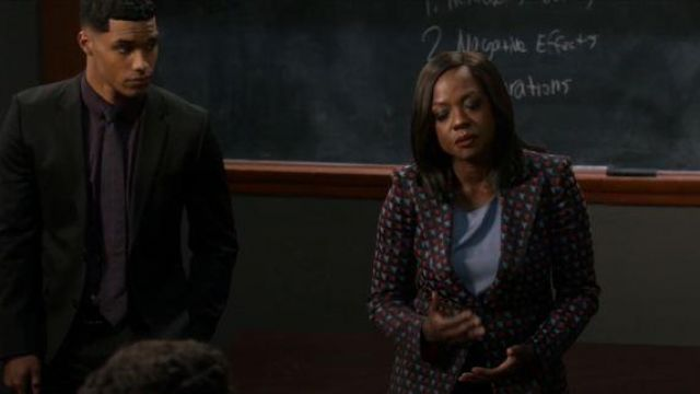 Giogio Armani Black Geometric Print Blazer outfit worn by Annalise Keating (Viola Davis) in How to Get Away with Murder Season 06 Episode 07 - TV Show Outfits and Products