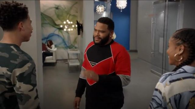 Givenchy Logo Embroidered Geometric Cotton Sweatshirt outfit worn by Andre 'Dre' Johnson (Anthony Anderson) in black-ish (S05E23) - TV Show Outfits and Products