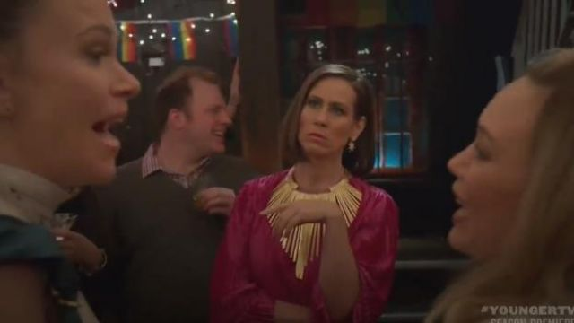 Givenchy Zig Zag Pink Pleated Dress outfit worn by Diana Trout (Miriam Shor) in Younger (Season06 Episode01) - TV Show Outfits and Products