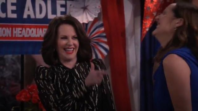Givenchy fil coupé pussy bow blouse outfit worn by Karen Walker (Megan Mullally) in Will & Grace (S02E13) - TV Show Outfits and Products