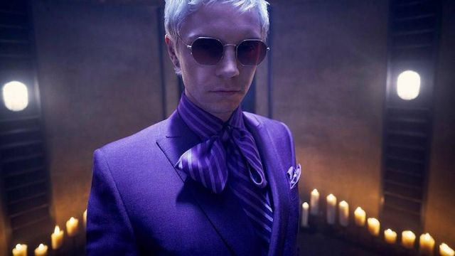 Glasses octagonal purple Mr. Gallant (Evan Peters) seen in American Horror Story Revelation (Season 8) - TV Show Outfits and Products