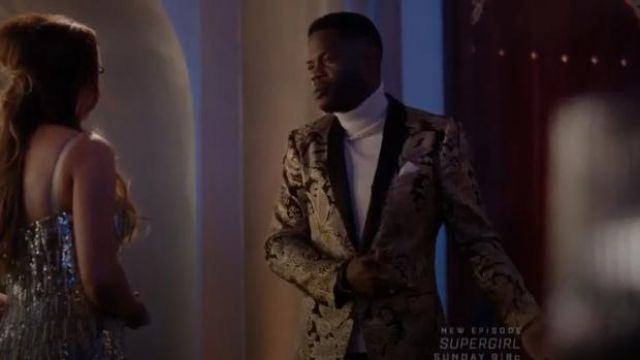 Gold Jacquard Button Blazer outfit worn by Jeff Colby (Sam Adegoke) in Dynasty Season 3 Episode 5 - TV Show Outfits and Products