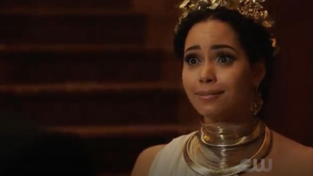 Golden earrings, INC International Concepts brought by Macy Vaughn (Madeleine Mantock) seen in Charmed Season 1 Episode 3 - TV Show Outfits and Products