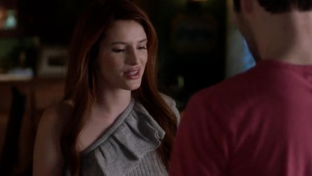 Gray Sweater shoulder bare Rebecca Taylor outfit worn by Paige Townsen (Bella Thorne) seen in Famous in Love S2E5 - TV Show Outfits and Products