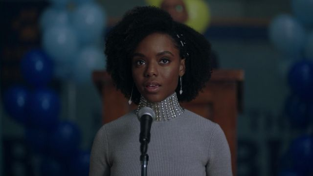 Gray sweater turtleneck studded Maje Josie McCoy (Ashleigh Murray) seen in Riverdale Season 2E22 - TV Show Outfits and Products