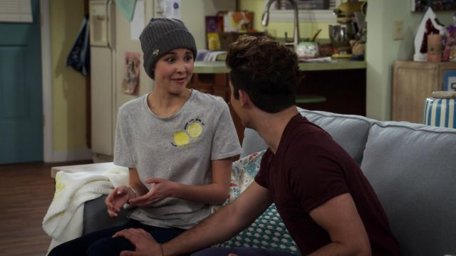 """Gray t-shirt """"lemon"""" of Katie Cooper (Isabel May) seen in Alexa & Katie Season 1 Episode 5 - TV Show Outfits and Products"""