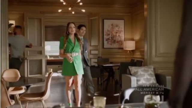 Green Leather High Heel Sandals outfit worn by Fallon Carrington (Elizabeth Gillies) in Dynasty Season 3 Episode 5 - TV Show Outfits and Products