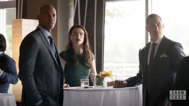 Green dress Roland Mouret Lena Luthor (Katie McGrath) seen in Supergirl Season 4 Episode 5 - TV Show Outfits and Products