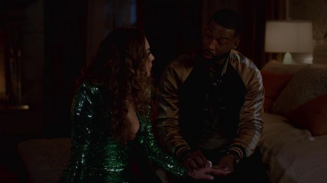 Green dress in chiffon with sequins Dundas range by Fallon Carrington (Elizabeth Gillies) seen in Dynasty Season 2 Episode 2 - TV Show Outfits and Products